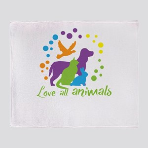 love all animals Throw Blanket